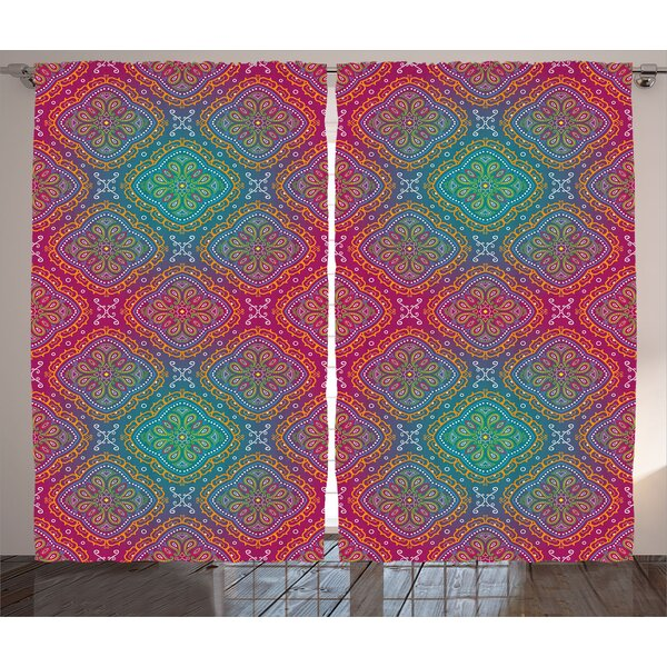 Hailey Psychedelic Graphic Print & Text Semi-Sheer Rod Pocket Curtain Panels (Set of 2) by Ebern Designs