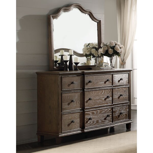 Burgan 9 Drawer Dresser with Mirror by Ophelia & Co.