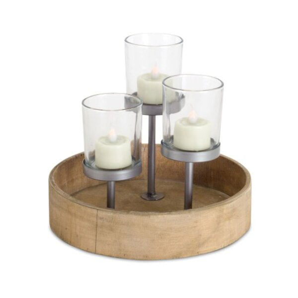 Wood/Metal/Glass Votive Holder by Millwood Pines