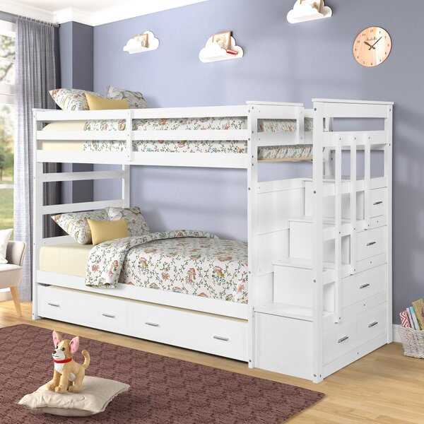Thursten Twin over Twin Bunk Bed with Trundle and 5 Drawers by Harriet Bee