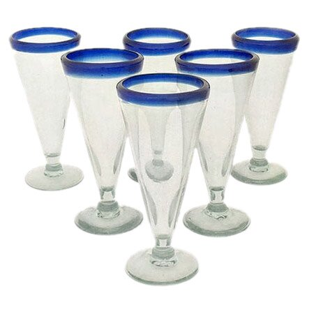 Javier and Efren Artisan Crafted Recycled Hand Blown Beer Glass (Set of 6) by Novica