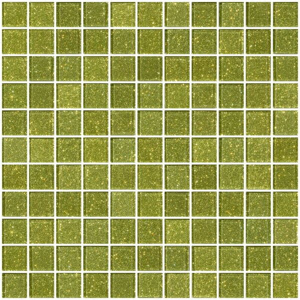 1 x 1 Glass Mosaic Tile in Light Lime Green by Susan Jablon