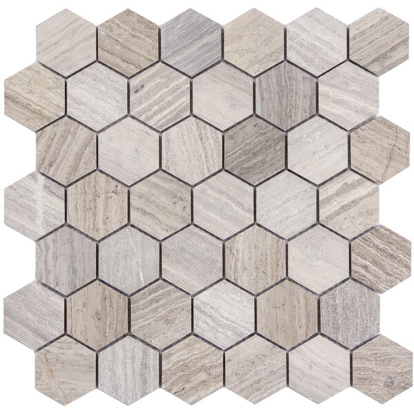 Metro Hex Mix 2 x 2 Marble Mosaic Tile in Gray by Emser Tile