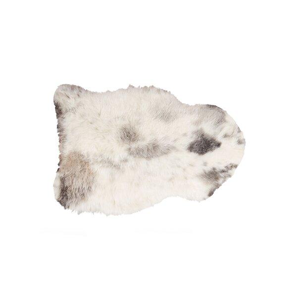 Dalea Sheared Hand-Woven Sheepskin White/Black Area Rug by Loon Peak