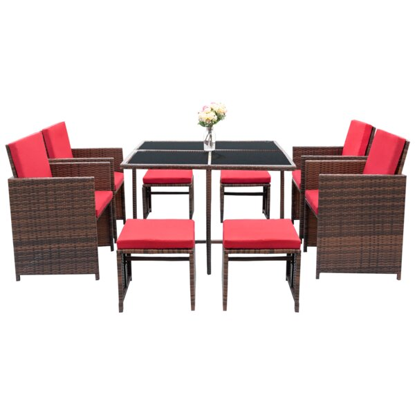 Agra Space Saving 9 Piece Dining Set with Cushions by Latitude Run
