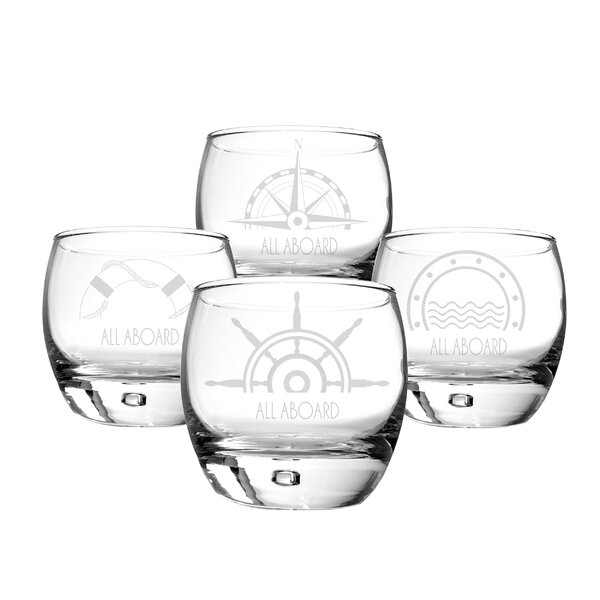 Personalized 10.75 Oz. Nautical Heavy Based Whiskey Glasses (Set of 4) by Cathys Concepts