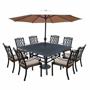 Otsego 9 Piece Aluminum Patio Dining Set With Cushions And Umbrella