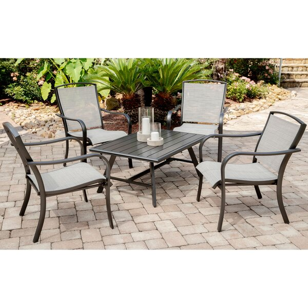 Wrenn 5-Piece Commercial-Grade Patio Seating Set with 4 Sling Lounge Chairs and a Slat-Top Coffee Table by Charlton Home