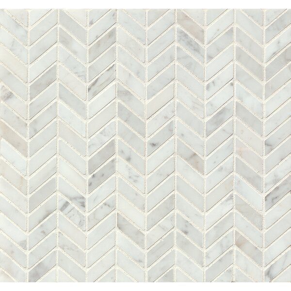 1 x 1 Marble Mosaic Tile in Polished White Carrara