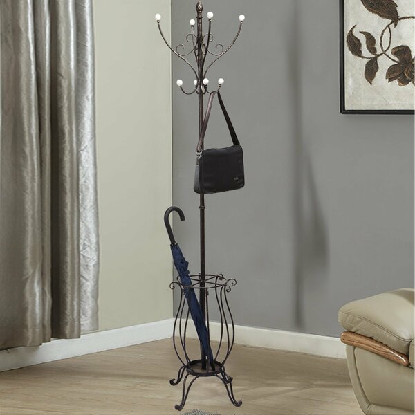 Iron Coat Hanging Rack with Umbrella Stand and Storage Tipped Scroll Design by Adeco Trading