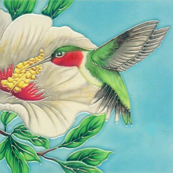 Hummingbird with White Flower Lift Tile Wall Decor by Continental Art Center