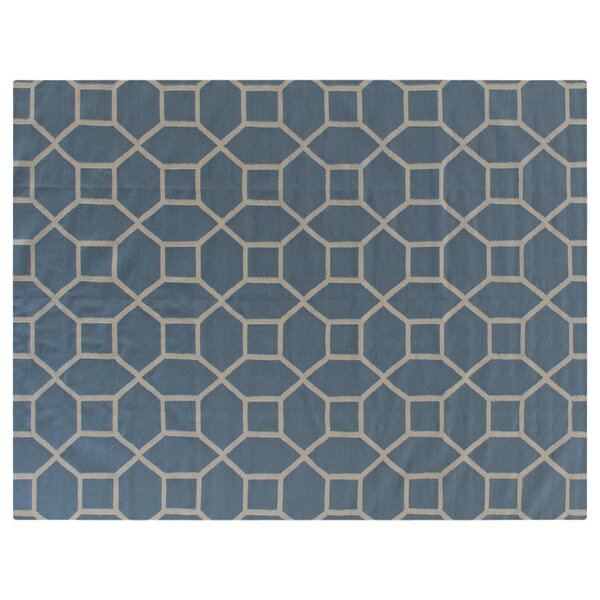 Hand-Woven Wool Blue Area Rug by Exquisite Rugs