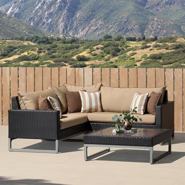 Dinjar 4 Piece Sunbrella Sectional Seating Group with Cushions by Latitude Run