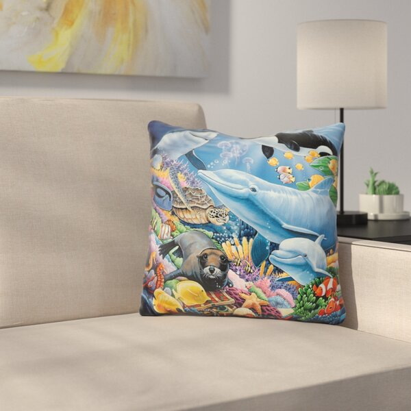 Sealife Throw Pillow by East Urban Home