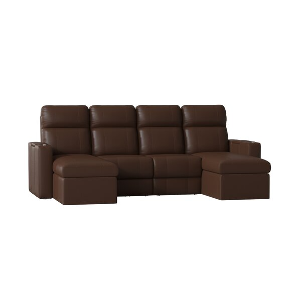 shop] Contemporary Upholstered Leather Home Theater Sofa (row Of 4 ...