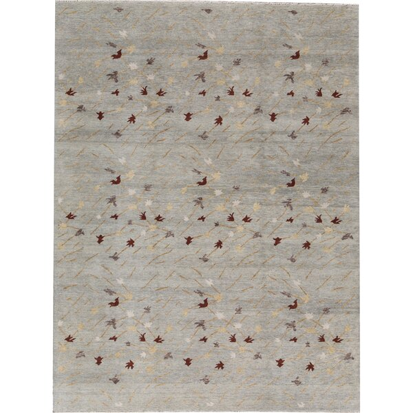 Abstract Hand-Knotted Gray Area Rug