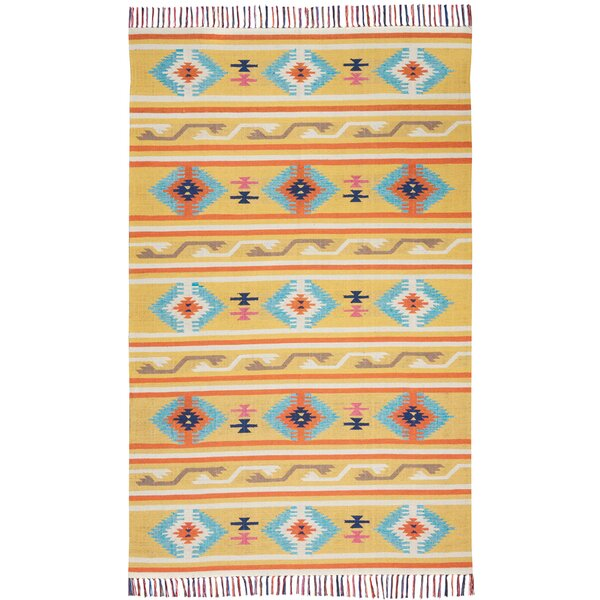 Rocky Hand-Woven YellowArea Rug by Bungalow Rose