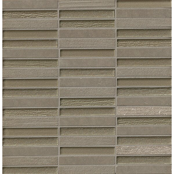 Tessuto 0.5 x 4 Stone and Glass Mosaic Tile in Gray by Bedrosians