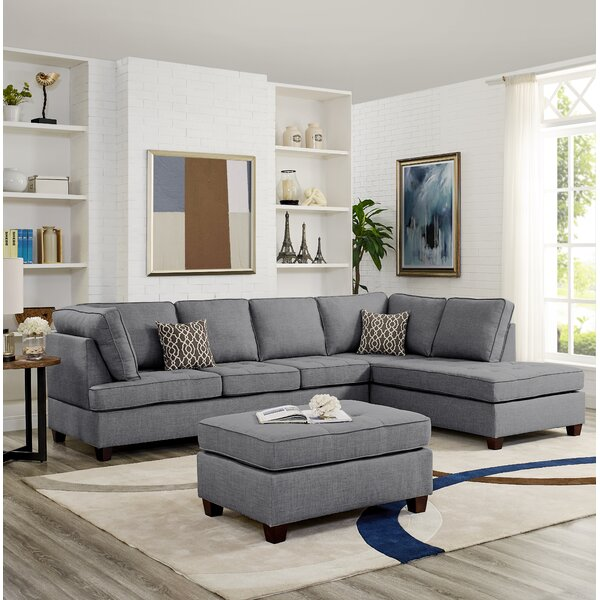 Hollins Reversible Sectional with Ottoman by Wrought Studio