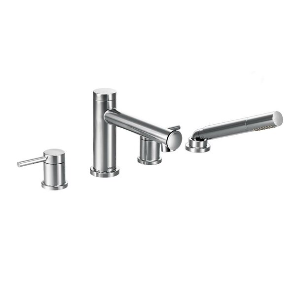 Align Two Handle Deck Mount Diverter Roman Tub Faucet Trim with Hand Shower by Moen