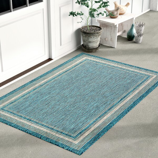 Keira Teal Outdoor Area Rug by August Grove