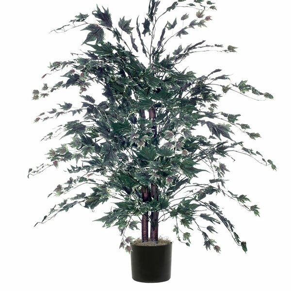 Artificial Frosted Maple Bush Foliage Tree in Pot by Red Barrel Studio