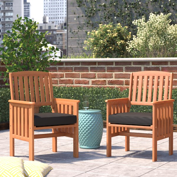 Folse Patio Dining Chair with Cushion (Set of 2) by Brayden Studio