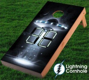 Electronic Scoring Alien Space Ship Cornhole Board by Lightning Cornhole