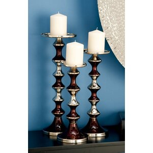 3 Piece Aluminum Candlestick Set