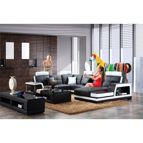 Marylou Leather Modular Sectional by Orren Ellis