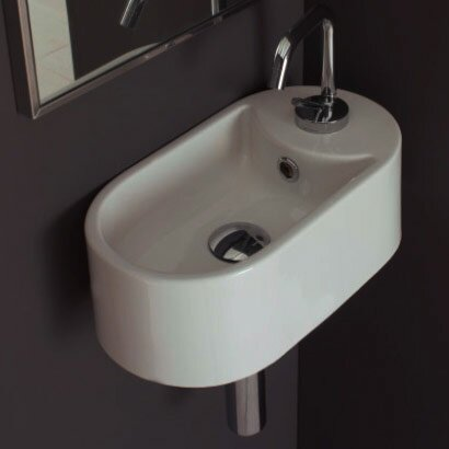 Seventy Ceramic 17 Wall Mount Bathroom Sink with Overflow by Scarabeo by Nameeks