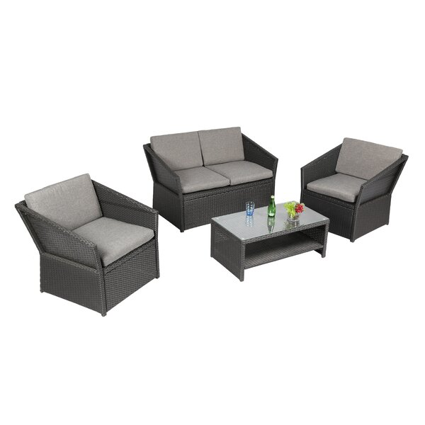 Bridgette Outdoor Complete 4 Piece Sofa Seating Group with Cushions Set by Andover Mills