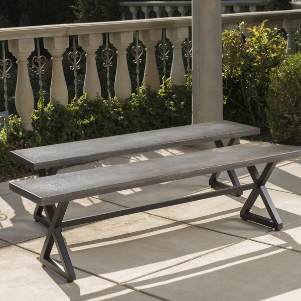 Lal Outdoor Aluminum Picnic Bench (Set of 2) by Union Rustic Union Rustic