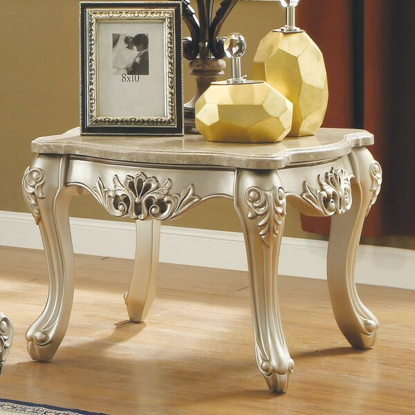 Suzuki Marble Top Wooden End Table by Astoria Grand Astoria Grand