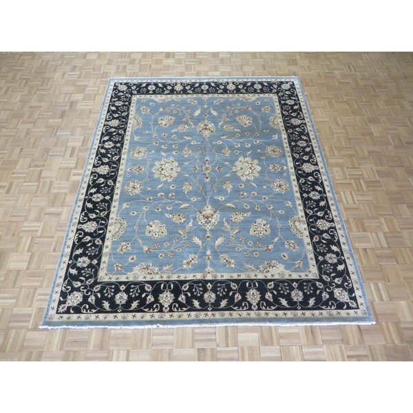 One-of-a-Kind Railsback Oushak Hand-Knotted Wool Sky Blue/Black Area Rug by Astoria Grand