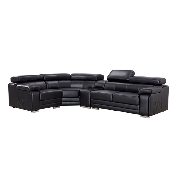 Hennigan Leather Sectional by Orren Ellis