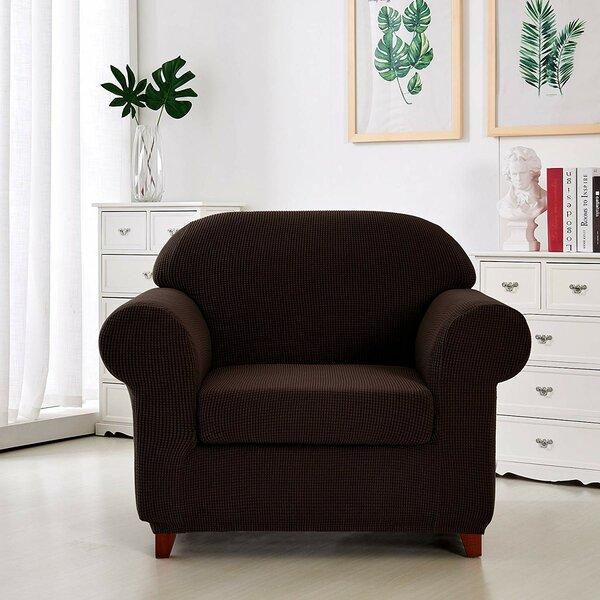 Compare Price Jacquard Box Cushion Armchair Slipcover