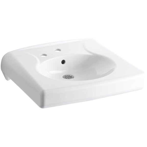 Brenham Ceramic 22 Wall Mount Bathroom Sink with Overflow by Kohler