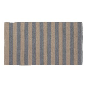 Awning Stripe Hand-Woven Beige/Gray Indoor/Outdoor Area Rug byHome Furnishings by Larry Traverso