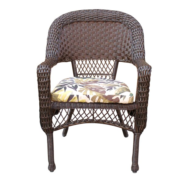 Pellham Resin Wicker Stacking Patio Dining Chair with Cushion by Bay Isle Home