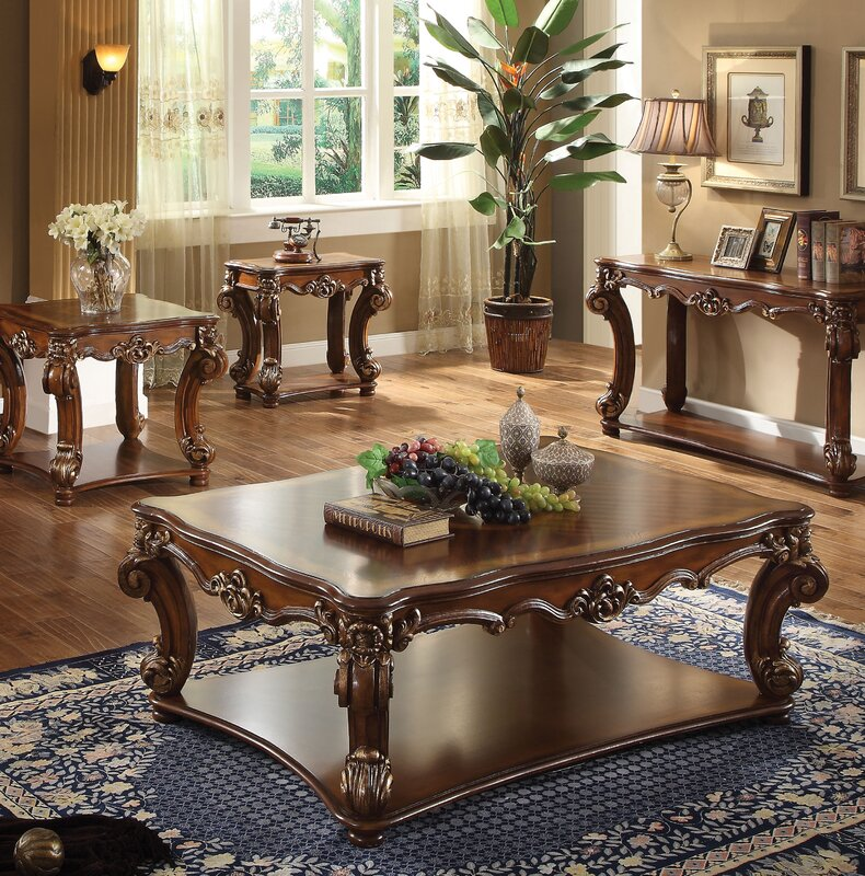 Elegant Welles Traditional 4 Piece Coffee Table Set