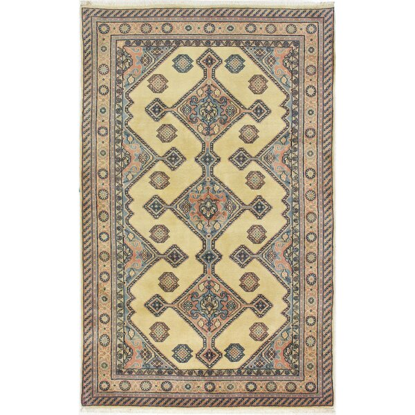 One-of-a-Kind Bardin Hand-Woven Wool Ivory/Pink Area Rug by Canora Grey