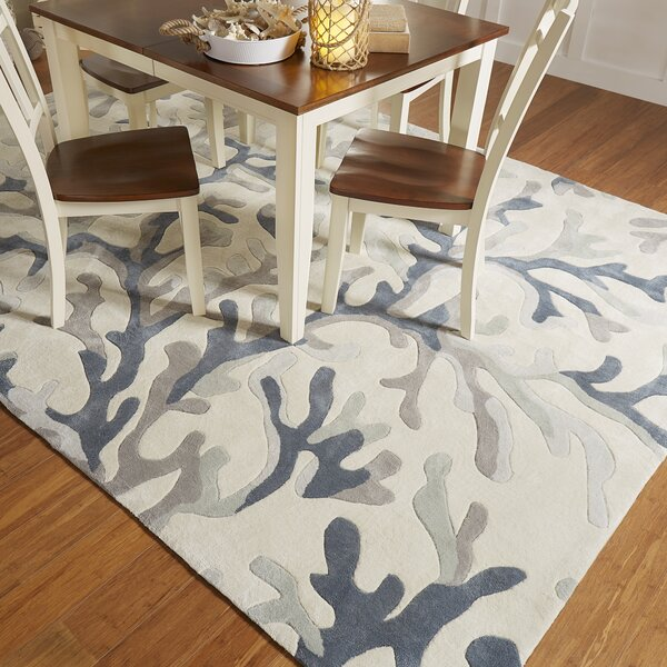 Cherrywood Hand Tufted Light Gray/Teal Area Rug by Highland Dunes