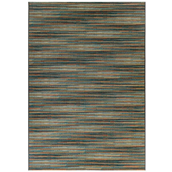 Michaella Stripes Blue Indoor/Outdoor Area Rug by World Menagerie