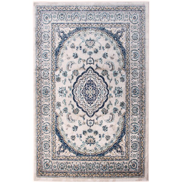 Rosie Traditional Medallion Distressed Ivory/Blue Area Rug by Bungalow Rose