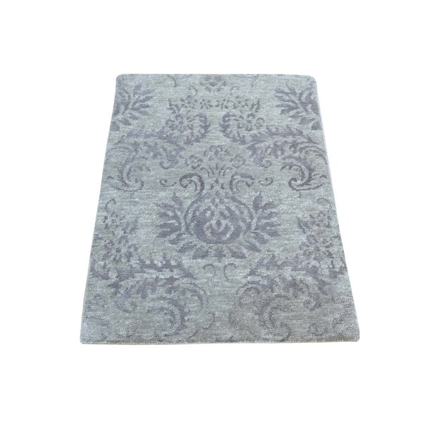 One-of-a-Kind Cattalina Art Damask Oriental Hand-Knotted Silk Gray Area Rug by Ophelia & Co.