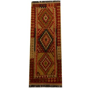 Kilim Hand-Woven Red Area Rug By Herat Oriental