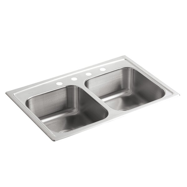 Toccata 33 L x 22 W x 8-3/16 Top-Mount Double-Equal Bowl Kitchen Sink with 4 Faucet Holes by Kohler