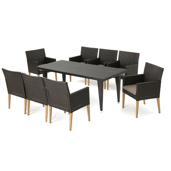 Jaliyah Outdoor Wicker 9 Piece Dining Set with Cushions by Corrigan Studio