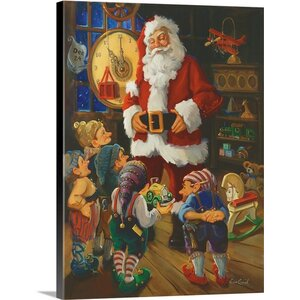 Christmas Art 'Toy Inspection' by Susan Comish Painting Print on Wrapped Canvas by Great Big Canvas